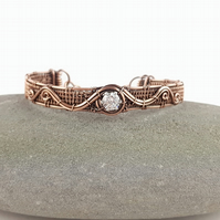 Cubic Zirconia and Copper Cuff Bracelet