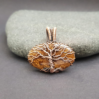 Bronzite and Copper Wire Wrapped Tree of Life Necklace