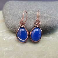 Blue Onyx and Copper Wire Wrapped Earrings