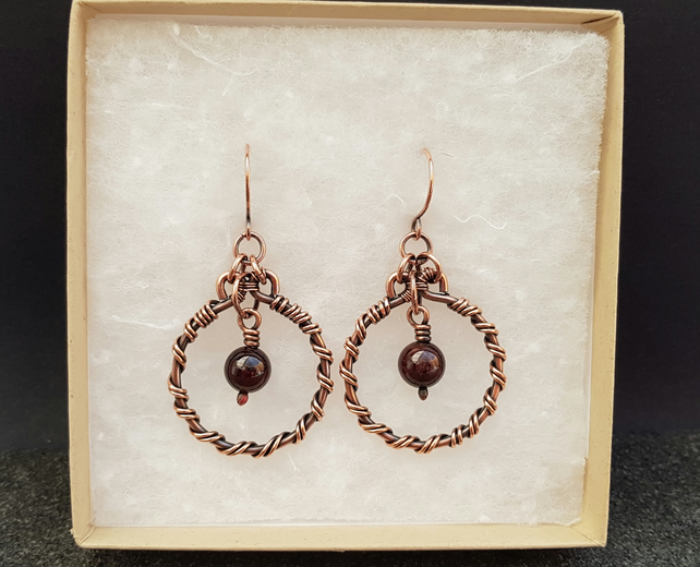 Garnet and Copper Hoop Earrings