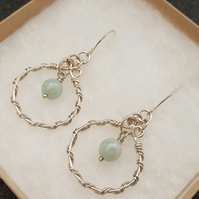 Jadeite and Sterling Silver Earrings