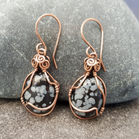 Snowflake Obsidian and Copper Wire Wrapped Earrings