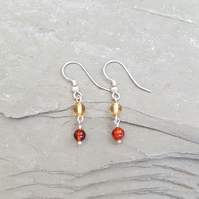 Amber and Sterling Silver Wire Wrapped Earrings