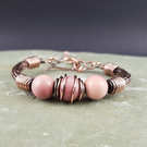 Mookaite and Copper Viking Weave Bracelet