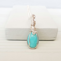 Wire Wrapped Amazonite and Silver Necklace