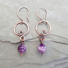 Amethyst and Copper Wire Wrapped Hoop Earrings