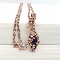 Blue Goldstone and Copper Wire Wrapped Necklace on a Copper Chain