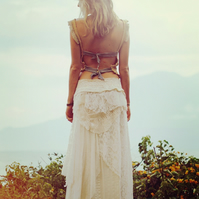 Handmade Gypsy Wedding Princess Skirt Layered