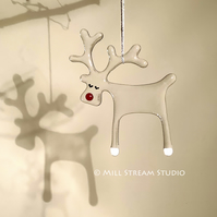 Handmade Glass Reindeer Decoration