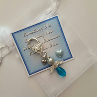Glass Beaded Something Blue Angel Charm wedding Gift GARTER or BOUQUET charm