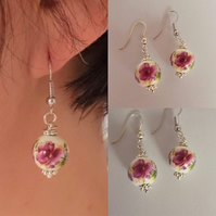 floral earrings CERAMIC bead white round ROSE flower red womens