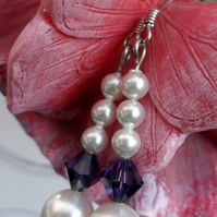 J0480 - Sterling Silver Swarovski Pearl & Crystal Earrings