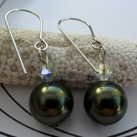 J0745 - Sterling Silver Dark Green Swarovski Pearl Earrings