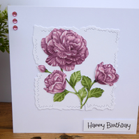 C3445 Happy Birthday Decoupage Flower Card