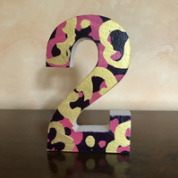 Wooden Number-Custom Made Decorated Freestanding Wooden Number- Birthday-Wedding