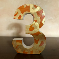 Wooden Number -Custom Made Decorated Freestanding Wooden Number- Wedding Table