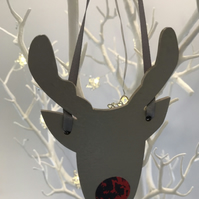 Christmas Wooden Reindeer Decoration - Hand Painted and Decorated Reindeer