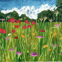 Poppy field flower print from original acrylic and watercolour painting