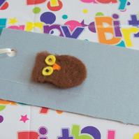 Hand made felted owl gift tags on silk