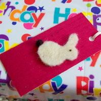 Hand made felted rabbit gift tags on silk