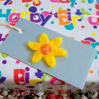 hand felted flower gift tags on silk