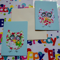 pack of 4 owl greetings cards in fabric