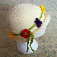 ladies crocheted bowler hat with flower band