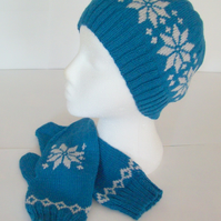 Nordic beanie hat and mittens sets for women, hand knitted