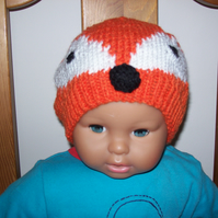 Baby and children's foxy hats and mitts, hand knitted, unique design