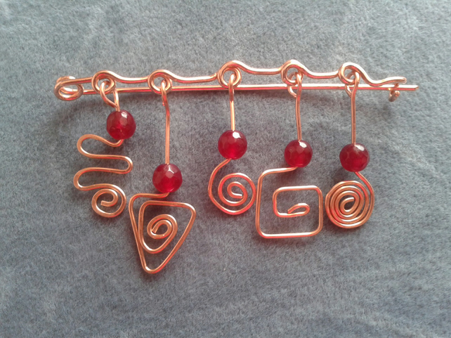 Celtic shawl or cardigan brooch pin with red agate gemstone beads