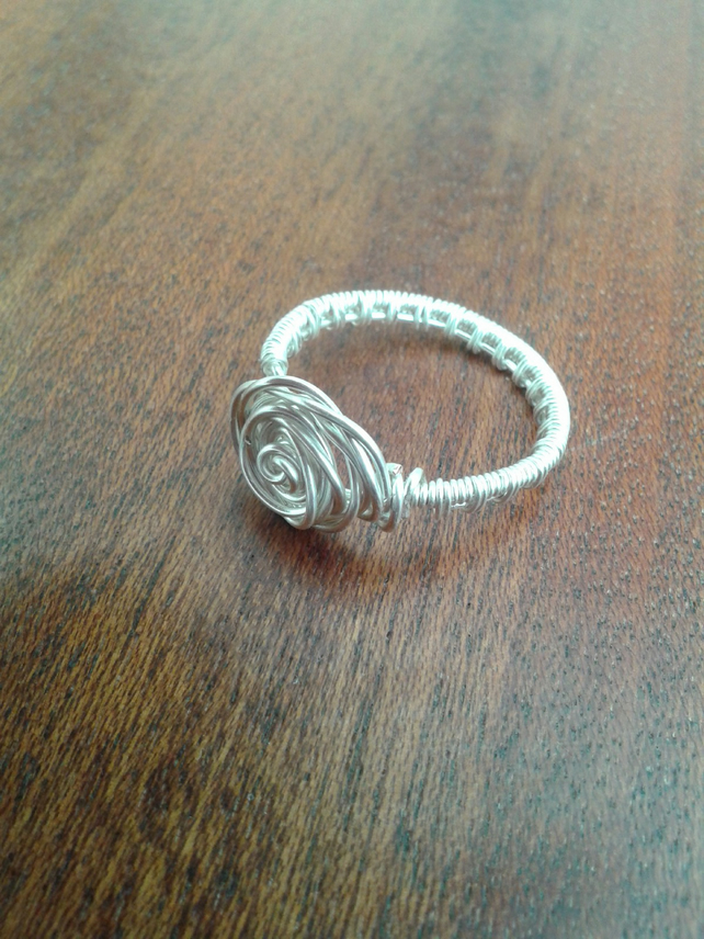 Wire weave rose ring