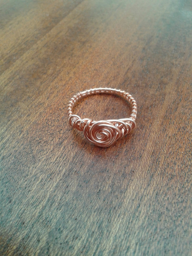 Copper Wire weave rose ring