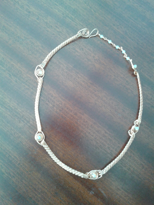 Copper wire weave and opalite Necklace