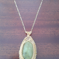 Lemon Jade wire weave necklace pendant