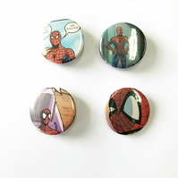 Set of four Spider-Man badges