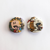 Set of two Calvin and Hobbes upcycled badges 25mm