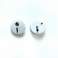 Set of Banksy badges 25mm