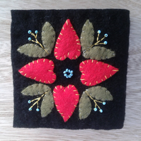Boiled wool, folk art needle case