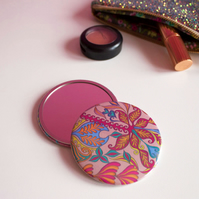 Taupe Tropical Pattern Pocket Mirror