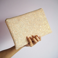 Nude Iridescent Glitter Clutch Bag