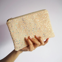 Nude Iridescent Glitter Makeup Bag