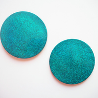 Turquoise Glitter Coasters