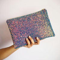 Purple Rainbow Glitter Clutch Bag