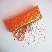 Burnt Orange Glitter Pencil Case
