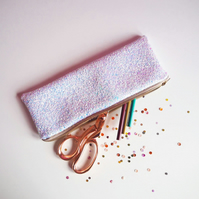 White Iridescent Glitter Pencil Case