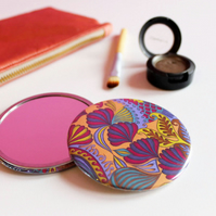 Peach Patterned Pocket Mirror