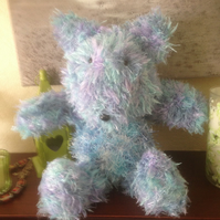 Hand knitted soft cuddly blue beat