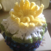 Water lily teacozy hand knitted and crocheted