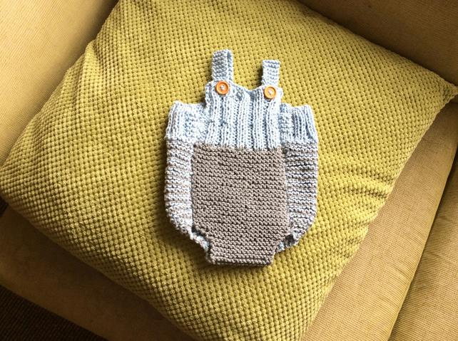 Handmade knitted baby boy dungarees