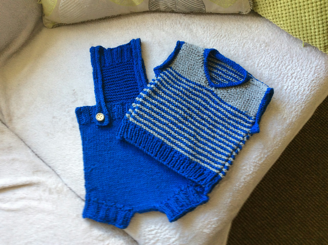 Hand knitted handmade baby boy romper set with bib and matching vest top and cap